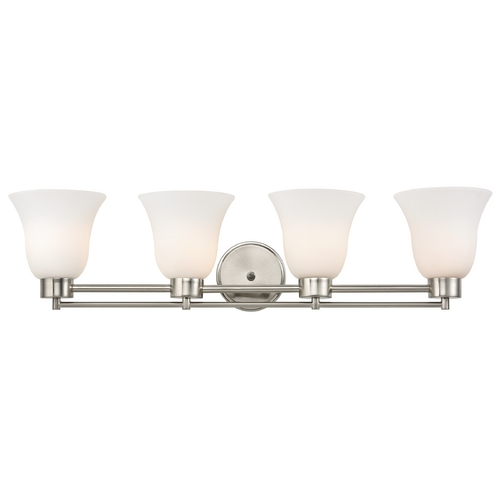 Design Classics Lighting Modern Bathroom Light with White Glass in Satin Nickel Finish 704-09 GL9222-WH