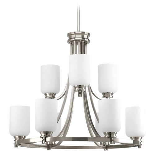 Progress Lighting Progress Chandelier with White Glass in Brushed Nickel Finish P4663-09