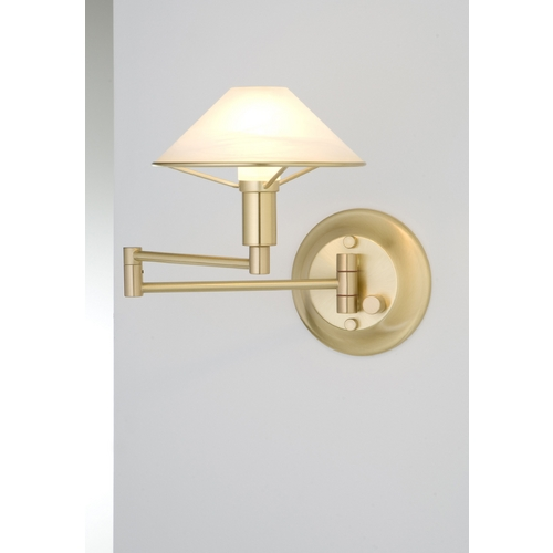 Holtkoetter Lighting Holtkoetter Modern Swing Arm Lamp with Alabaster Glass in Brushed Brass Finish 9426 BB AWH