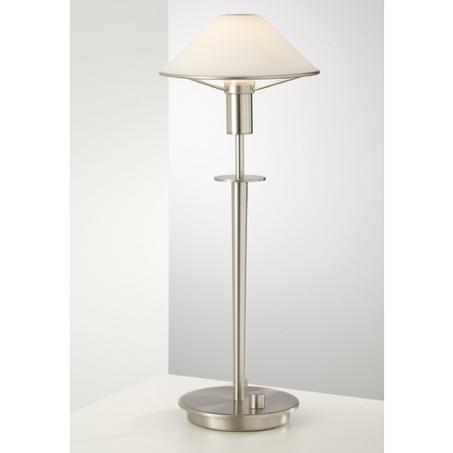 Holtkoetter Lighting Holtkoetter Modern Table Lamp with White Glass in Satin Nickel Finish 6514 SN TRW