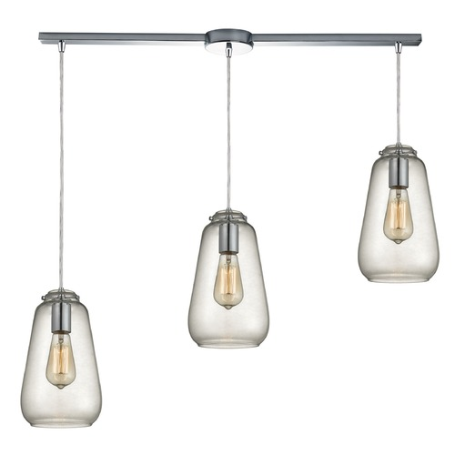 Elk Lighting Elk Lighting Orbital Polished Chrome Multi-Light Pendant with Bowl / Dome Shade 10423/3L