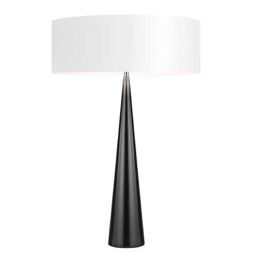 Sonneman Lighting Sonneman Big Table Cone Gloss Black Table Lamp with Drum Shade 6140.62W