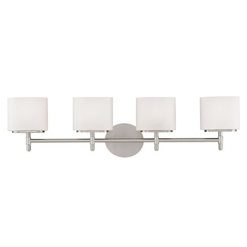 Hudson Valley Lighting Modern Bathroom Light with White Glass in Satin Nickel Finish 8904-SN