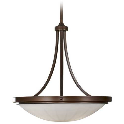 Home Solutions by Feiss Lighting Modern Pendant Light with White Glass in Heritage Bronze Finish F2583/3HTBZ