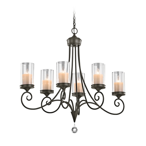 Kichler Lighting Kichler Chandelier with Clear Glass in Shadow Bronze Finish 42862SWZ