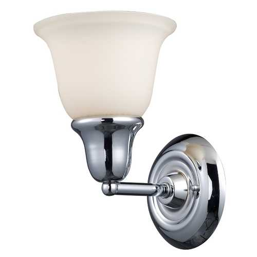 Elk Lighting Modern Sconce with White Glass in Polished Chrome Finish 67010-1