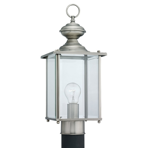 Sea Gull Lighting Post Light with Clear Glass in Antique Brushed Nickel Finish 8257-965