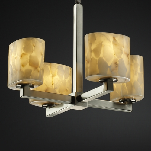 Justice Design Group Justice Design Group Alabaster Rocks! Collection Mini-Chandelier ALR-8829-30-NCKL