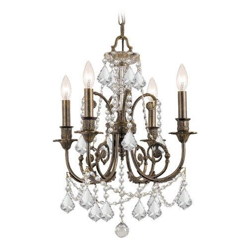 Crystorama Lighting Crystal Mini-Chandelier in English Bronze Finish 5114-EB-CL-SAQ