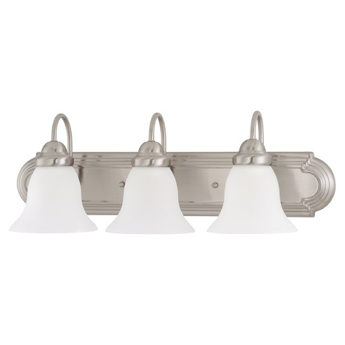 Nuvo Lighting Bathroom Light with White Glass in Brushed Nickel Finish 60/3279
