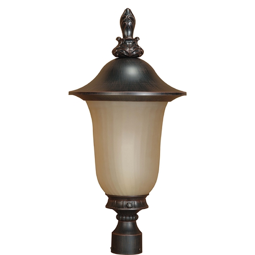Nuvo Lighting Post Light with Beige / Cream Glass in Old Penny Bronze Finish 60/2511