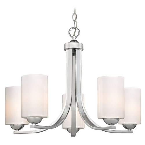 Design Classics Lighting Polished Chrome Chandelier with Opal White Cylinder Glass Shades 584-26 GL1024C