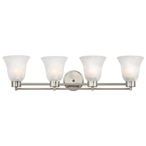 Design Classics Lighting Modern Bathroom Light with Alabaster Glass in Satin Nickel Finish 704-09 GL9222-ALB