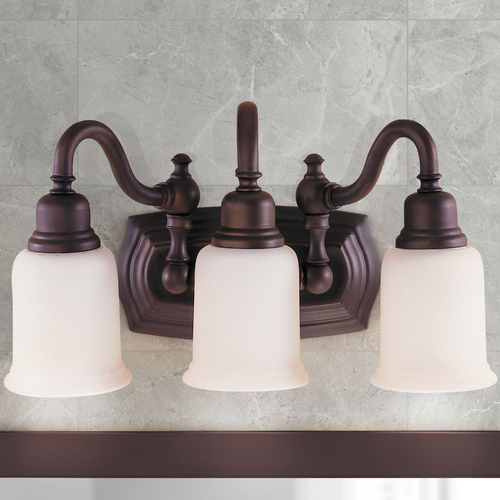 Feiss Lighting Three-Light Bathroom Light with Etched Glass VS8003-ORB