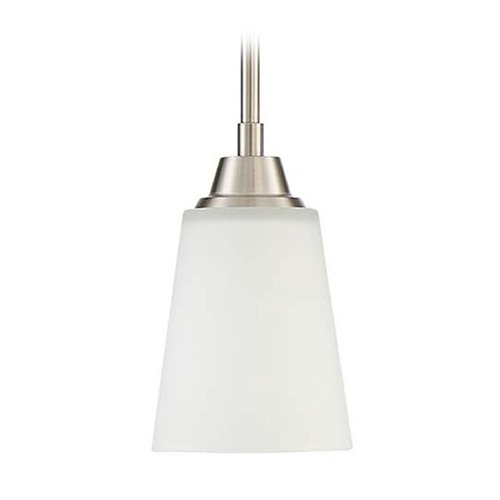 Craftmade Lighting Craftmade Lighting Grace Brushed Polished Nickel Mini-Pendant Light with Bell Shade 41991-BNK