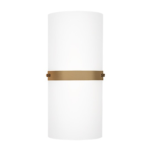 Kuzco Lighting Modern Vintage Brass LED Sconce with White Opal Shade 3000K 734LM WS3413-VB