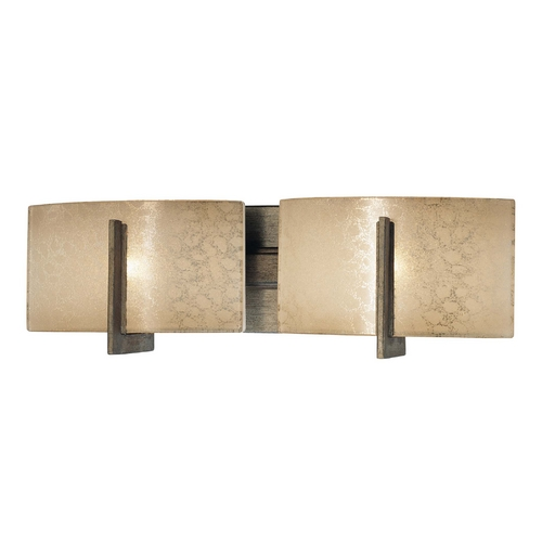 Minka Lavery Bathroom Light with Beige / Cream Glass in Patina Iron Finish 6392-573