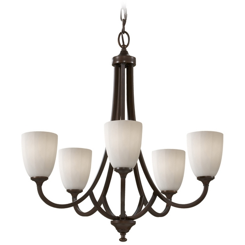 Feiss Lighting Modern Chandelier with White Glass in Heritage Bronze Finish F2584/5HTBZ