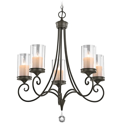 Kichler Lighting Kichler Chandelier with Clear Glass in Shadow Bronze Finish 42861SWZ