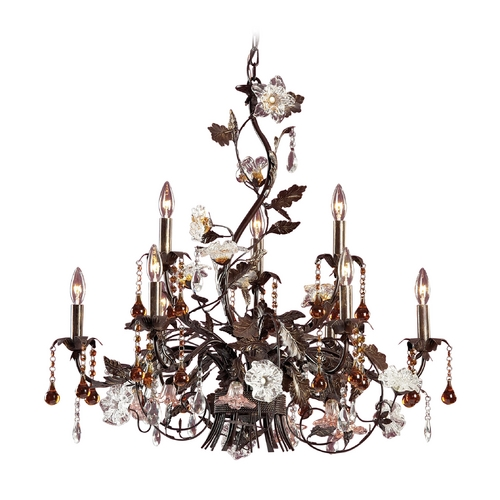 Elk Lighting Crystal Chandelier in Deep Rust Finish 85003