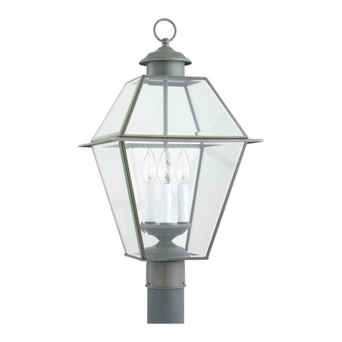 Sea Gull Lighting Post Light with Clear Glass in Antique Bronze Finish 8258-71