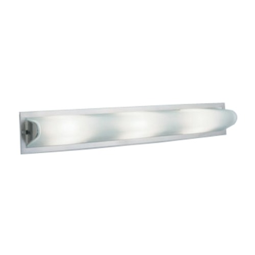 PLC Lighting Modern Bathroom Light with White Glass in Satin Nickel Finish 784 SN
