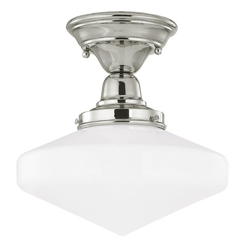 Design Classics Lighting 10-Inch Schoolhouse Ceiling Light in Polished Nickel Finish FBS-15 / GE10