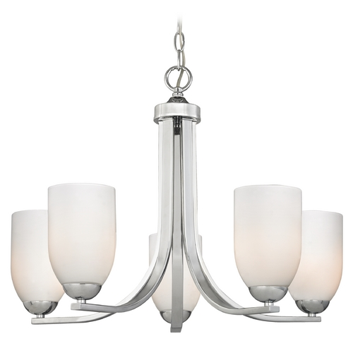 Design Classics Lighting Contemporary Chrome Chandelier with Opal White Glass and Five Lights 584-26 GL1024D
