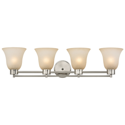 Design Classics Lighting Modern Bathroom Light with Brown Art Glass in Satin Nickel Finish 704-09 GL9222-CAR
