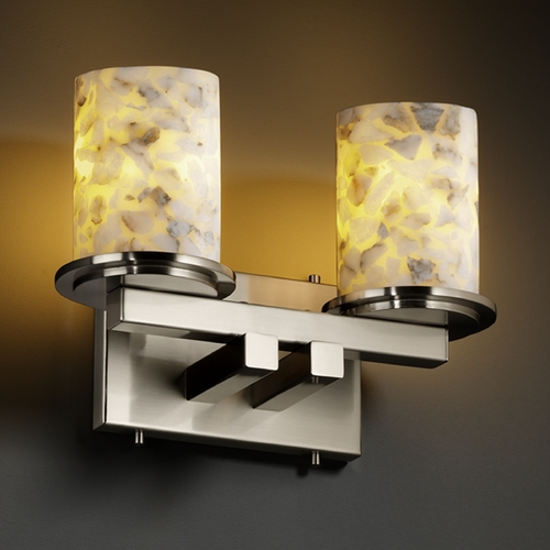 Justice Design Group Justice Design Group Alabaster Rocks! Collection Bathroom Light ALR-8772-10-NCKL