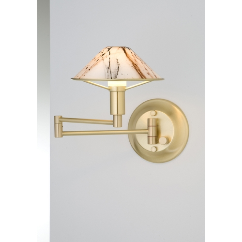 Holtkoetter Lighting Holtkoetter Modern Swing Arm Lamp with White Glass in Brushed Brass Finish 9426 BB MRB