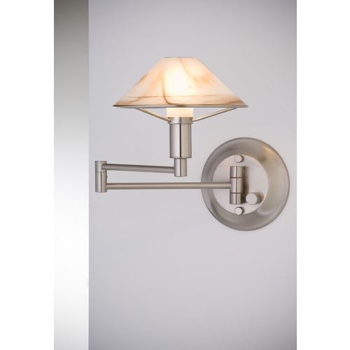 Holtkoetter Lighting Holtkoetter Modern Swing Arm Lamp with Alabaster Glass in Satin Nickel Finish 9426 SN ABR