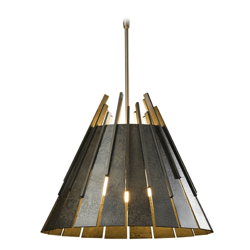Hubbardton Forge Lighting Hubbardton Forge Lighting Finn Dark Smoke Pendant Light with Empire Shade 138901-SKT-STND-07-GG0045