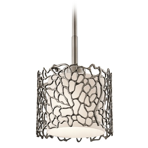Kichler Lighting Kichler Lighting Silver Coral Classic Pewter Mini-Pendant Light with Drum Shade 43349CLP