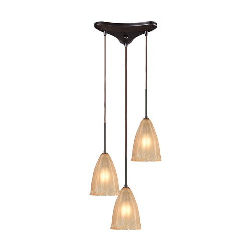 Elk Lighting Elk Lighting Calipsa Oil Rubbed Bronze Multi-Light Pendant with Bowl / Dome Shade 10439/3