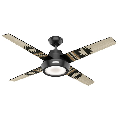 Hunter Fan Company Hunter Ceiling Fan With Light 54 inch Pendleton in Matte Black 59389