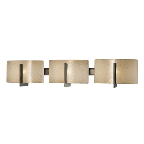 Minka Lavery Bathroom Light with Beige / Cream Glass in Patina Iron Finish 6393-573