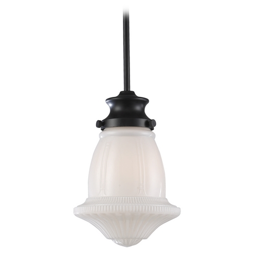 Elk Lighting Schoolhouse Mini-Pendant Light with White Glass 69039-1
