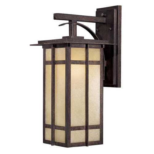 Minka Lavery Outdoor Wall Light with Beige / Cream Glass in Iron Oxide Finish 71192-A357-PL