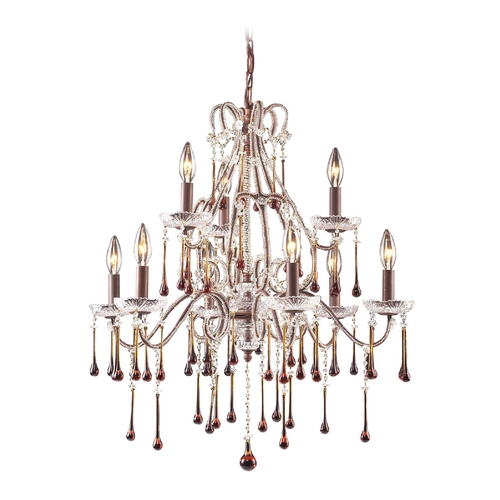Elk Lighting Crystal Chandelier in Rust Finish 4013/6+3AMB