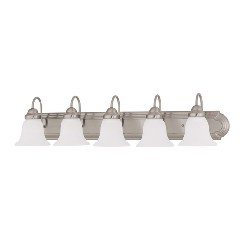Nuvo Lighting Bathroom Light with White Glass in Brushed Nickel Finish 60/3282