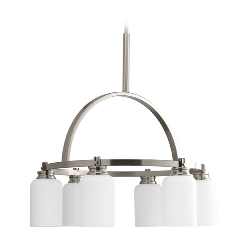Progress Lighting Progress Chandelier with White Glass in Brushed Nickel Finish P4661-09