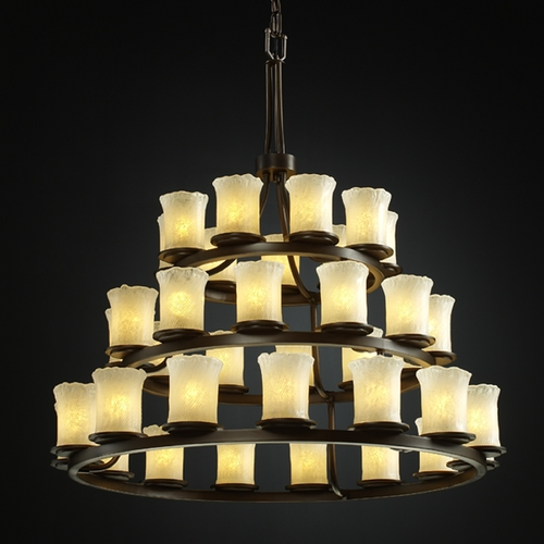 Justice Design Group Justice Design Group Veneto Luce Collection Dark Bronze Chandelier GLA-8712-16-WHTW-DBRZ