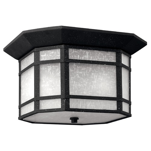 Hinkley Lighting Close To Ceiling Light with White Glass in Vintage Black Finish 1273VK