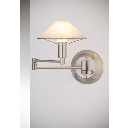 Holtkoetter Lighting Holtkoetter Modern Swing Arm Lamp with Alabaster Glass in Satin Nickel Finish 9426 SN AWH