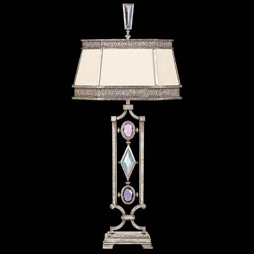 Fine Art Lamps Fine Art Lamps Encased Gems Vintage Silver Leaf Table Lamp with Hexagon Shade 729810-1ST