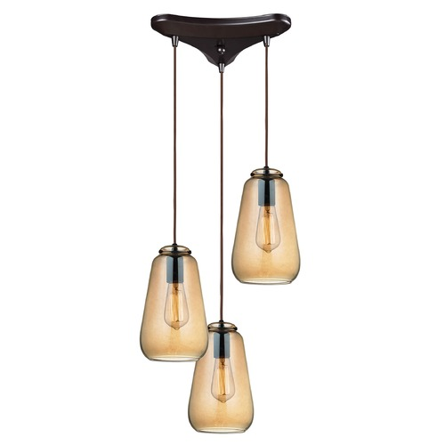 Elk Lighting Elk Lighting Orbital Oil Rubbed Bronze Multi-Light Pendant with Bowl / Dome Shade 10433/3