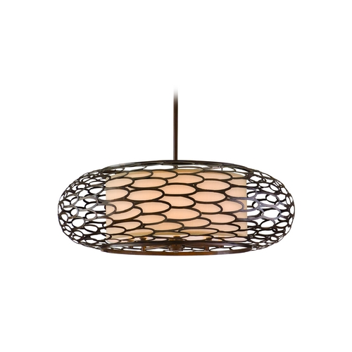Corbett Lighting Modern Pendant Light with Beige / Cream Shades in Napoli Bronze Finish 79-410
