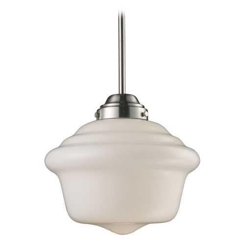 Elk Lighting Schoolhouse Pendant Light with White Glass in Satin Nickel Finish 69040-1