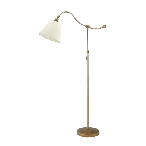 House of Troy Lighting Swing Arm Lamp with White Shade in Weathered Brass Finish HP700-WB-WL